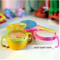 Retail Child double the handle snack cup biscuits candy snack cans bpa free shopping 2014 baby infant Edible safety Dinnerware