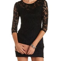 Embroidered Lace Bodycon Dress by Charlotte Russe - Black