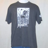 Vintage Burnout 1986 MONTANA GRIZZLY BEAR Nature Wildlife Graphic Buttery Soft Thin Large Worn In T-Shirt