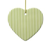 Acid Green And Vertical White Stripes Patterns Christmas Tree Ornament from Zazzle.com