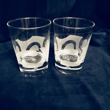 #0094 Vintage Bailey's Irish cream on the rocks lowball frosted glasses