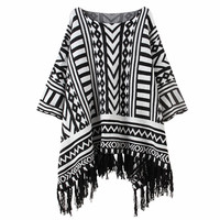 Boat Neck Bat Sleeve Tassel Geometric Jac Quard Weave Knit Shirt