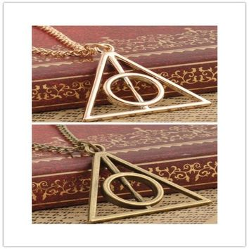 DCCKIX3 Film Movie Harry potter deathly hallows metal Gold necklace pendant as Gifts HOT = 1946876292