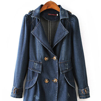 Blue Notched Collar Double-Breasted Denim Trench Coat