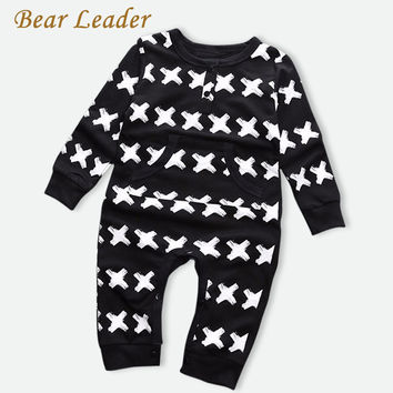 Bear Leader 2016 Brand Baby Girls Clothes Autumn Baby Boys Jumpsuits Cross pattern Print Newborn Rompers Winter Infant Coveralls