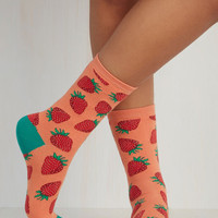 Fruits These Fruits are Made for Walkin' Socks in Strawberry by ModCloth