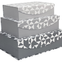 Magnetic Nesting Storage Box, Gray, Set of 3, Office Supplies