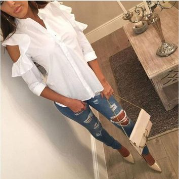 Bear Shoulder Ruffles Buttons Slim White Blouse