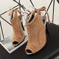 Women Slingbacks Pumps Lace Up Thin High Heel Peep Toe Shoes Summer Sandals