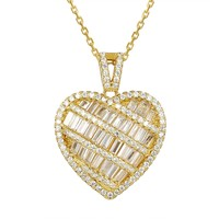 14k Gold Finish Baguette Heart Love Pendant Chain Set