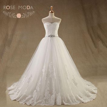 Rose Moda French Lace Ball Gown Crystal Beaded Princess Lace Wedding Dress Plus Size Lace Up Back
