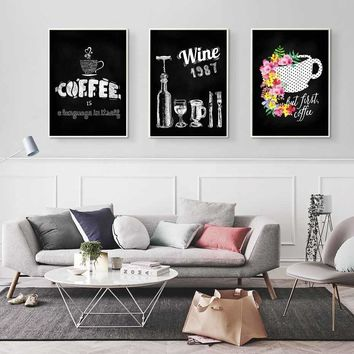 Nordic Cup Of Coffee Wine Posters And Prints Modern Canvas Painting Wall Art Picture For Kitchen Room Home Decoration No Frame