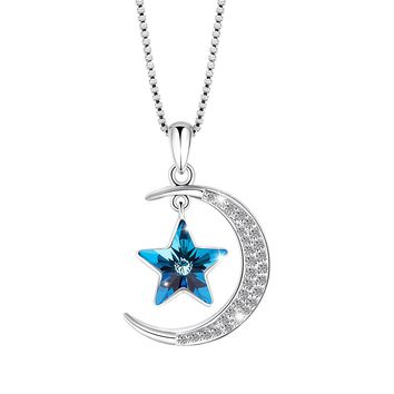"Valentine Day Gifts ""Moon and Star"" Fashion Jewelry Pendant Necklace, Made with Swarovski Crystal, Jewelry for Women Gifts for Mom"