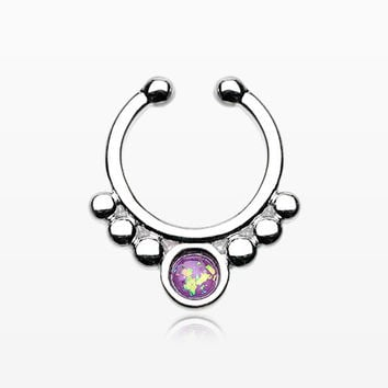 Classic Opal Grandiose Fake Septum Clip-On Ring