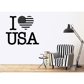 USA Wall Stickers Decal I Love United States Patriot Flag Decor for Room Unique Gift (ig474)