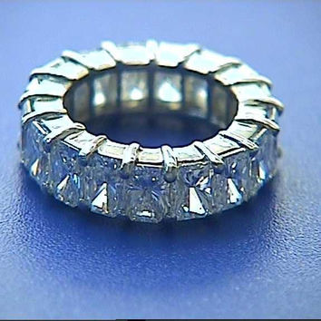 6.75ct Radiant Cut Diamond Eternity Ring JEWELFORME BLUE
