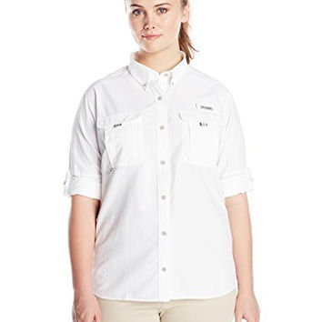 Columbia Women's Plus-Size Bahama Long Sleeve Shirt, White, 2X