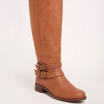 Braided Strap Knee-High Boots (Wide Width & Wide Calf)