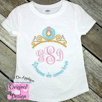 Cinderella Princess Inspired Monogram Tiara with Phrase - Princess Movie - Custom Tee