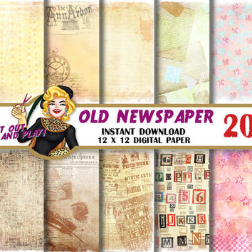 Vintage Newspaper digital paper, vintage backgrounds clock,antique script,handwriting, old distressed patterns, Scrapbooking Paper, patterns