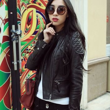 Free shipping,Brand new black style Genuine leather womens jackets.Asian size female 100% sheepskin casual jacket,sales.