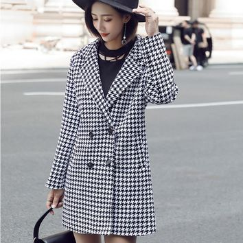 Fenghua New Winter Long Women Coat Wool Plaid Jacket Office Work Double Breasted Woolen Coat Female Outwear casaco feminino