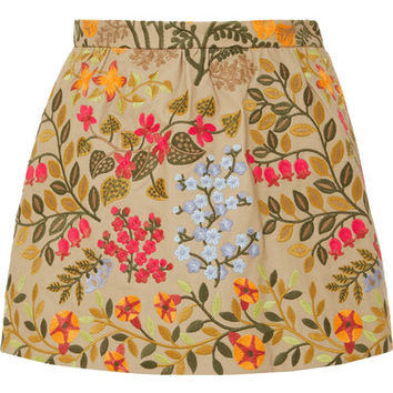 REDValentino - Embroidered cotton-twill shorts