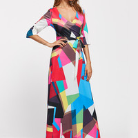 V Neck 3/4 Sleeve Patchwork Maxi Dress with Belt - NOVASHE.com