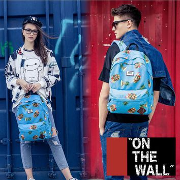 VansFashion Personality printing large capacity backpack bag leisure travel boom Blue pineapple print 7 style