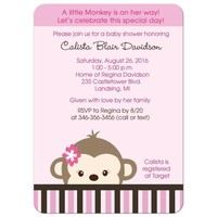 Cute mod monkey girl baby shower invitation