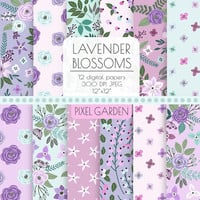 Floral Digital Paper. Purple, Lavender Shabby Cottage Chic Scrapbooking Paper. Rose, Peony Blossom Background. Pink, Lavender, Mint Pattern