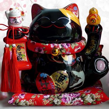 Black Maneki Neko Ceramic Lucky Cat with Lute Home Decor Ornaments Creative Business Gifts Fortune Cat Money Box Fengshui Craft
