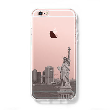 New York Statue of Liberty Skyline iPhone 6s Clear Case iPhone 6 Cover iPhone 5S 5 5C Hard Transparent Case C011