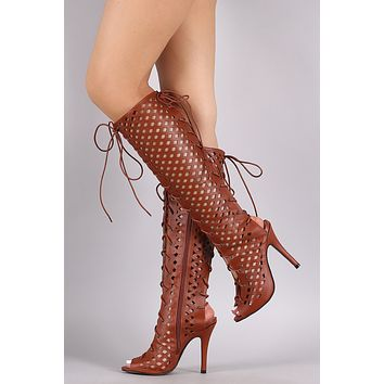 Perforated Peep Toe Lace Up Knee High Boots