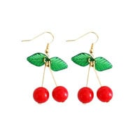 Red Cherry Drop Earrings With Leaves
