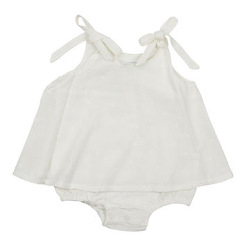 KIPP Baby Girls' White Overlay Linen Bubble
