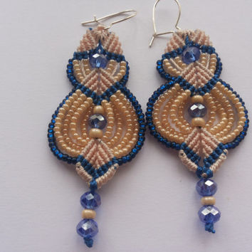 beige and blue micro macrame earrings