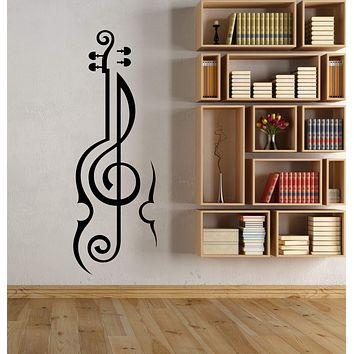 Vinyl Wall Decal Violin Musical Instrument Clef Music Shop Stickers (3048ig)
