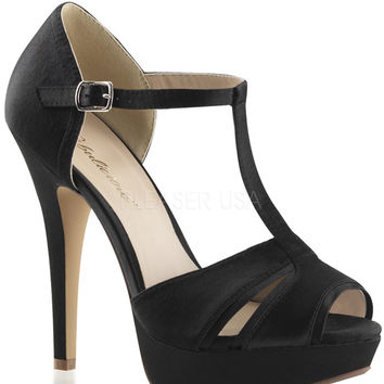 T-strap Black Peep Toe Pumps