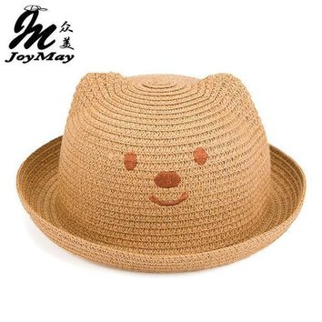 2016 Fashion Straw Hats Summer Baby Ear Decoration Lovely Child Character Girls And Boys Sun Hat Solid Children Floppy C017