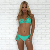 Cross Me Bikini Set In Mint