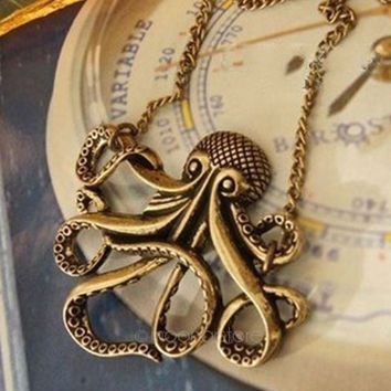 Antique Steampunk octopus Pocket Watch Locket Necklace Halloween 2014 Gift = 1946088516