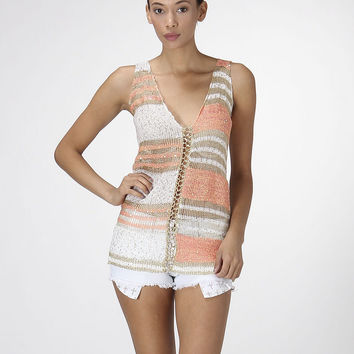Gold Coast Elegant Tank Top Coral and Cream