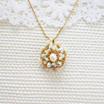 Gold Crocheted Pearl Necklace Bridal Crystal Gold Fill Chain