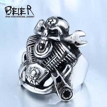 BEIER 316L Hot Sell 316LStainless Steel Winged Motorcycle Skull Biker Cool Punk Ring Jewelry BR8-410