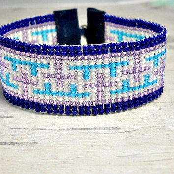 Navy Bead Loom Bracelet, Crosses Purple Bead Loom Bracelet