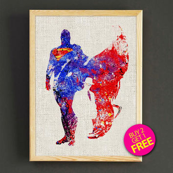 Superman, Print, Superman poster, Superhero poster, Art, Heroes Illustrations, Abstract, Wall art, Comic poster, Gift, Home Decor - 399s2g