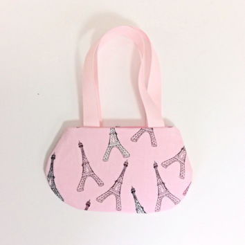 Eiffel Tower Doll Purse, Pink Doll Purse with Eiffel Tower Design, for 18 Inch Dolls such as American Girl Dolls