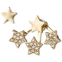 RACHEL Gold-Tone Crystal Asymmetrical Floating Star Earrings
