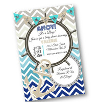Nautical Baby Shower invitation teal blue grey tan Ahoy its a boy anchor invite 5x7 printed or printable chevron ombre baby shower boy